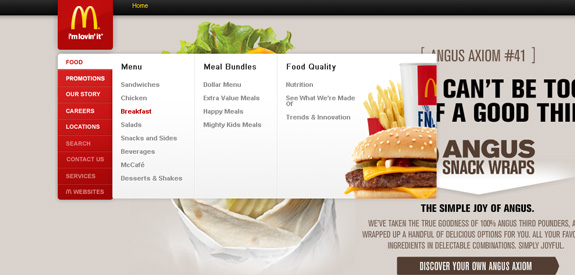 Tendance du webdesign, menus larges