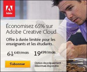 Economisez 65% sur Adobe Creative Cloud