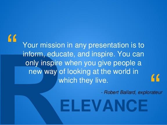 pertinence du message et inspiration