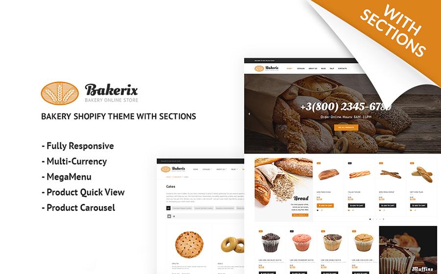 Thème Shopify adaptatif pour boulangerie en ligne