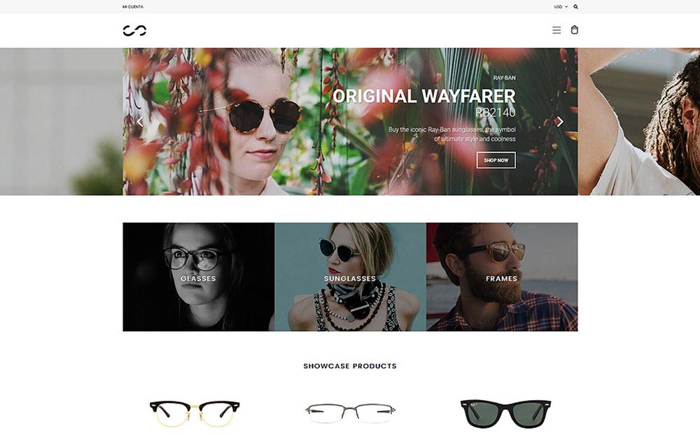 Thème Shopify adaptatif pour magasin de lunettes