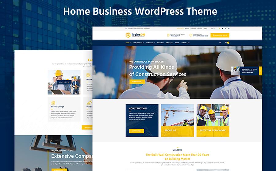 Projexon - Thème WordPress pour entreprise de construction lumineuse