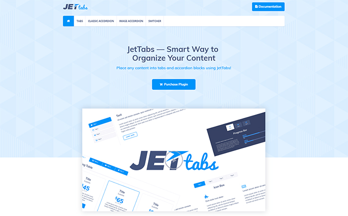 JetTabs - Onglets et accordéons pour Elementor Page Builder WordPress Plugin