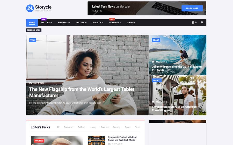 24.Storycle - Thème WordPress pour Elementor pour Portail d'actualités multifonctionnel