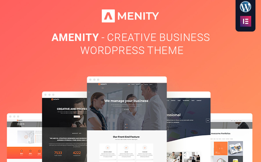 Amenity - Business One Page thème WordPress adaptatif