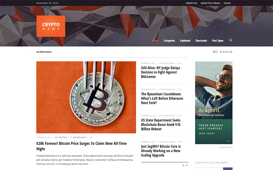 Crypto News - Cryptocurrency & Bitcoin WordPress Theme