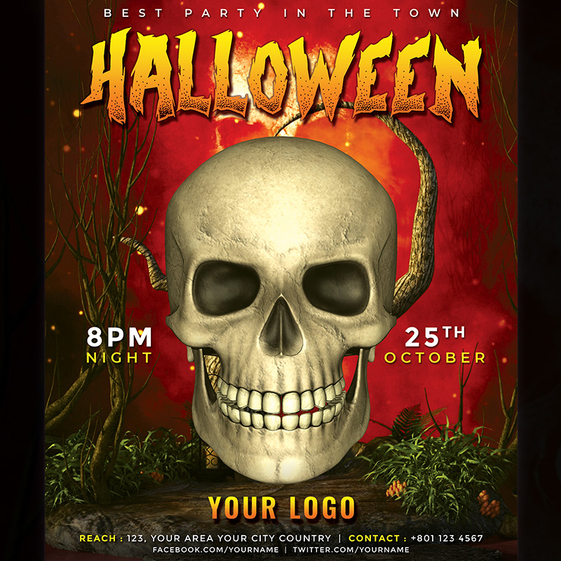 Halloween Party Flyer - PSD Corporate Identity Template