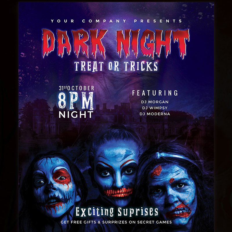 Dark Night - Halloween Party Flyer Design Corporate Identity Template