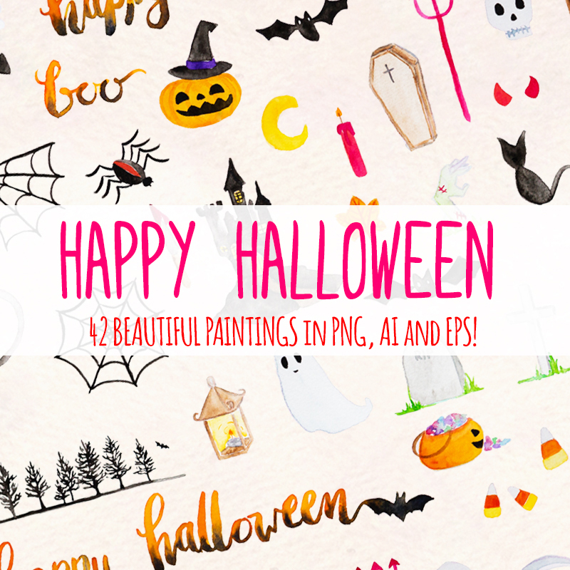 42 Spooky Halloween Elements Illustration
