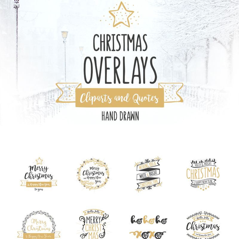 Christmas Overlays - Vector Set illustration