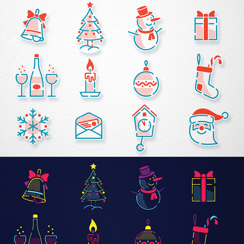 Christmas New Year Icons Set illustration
