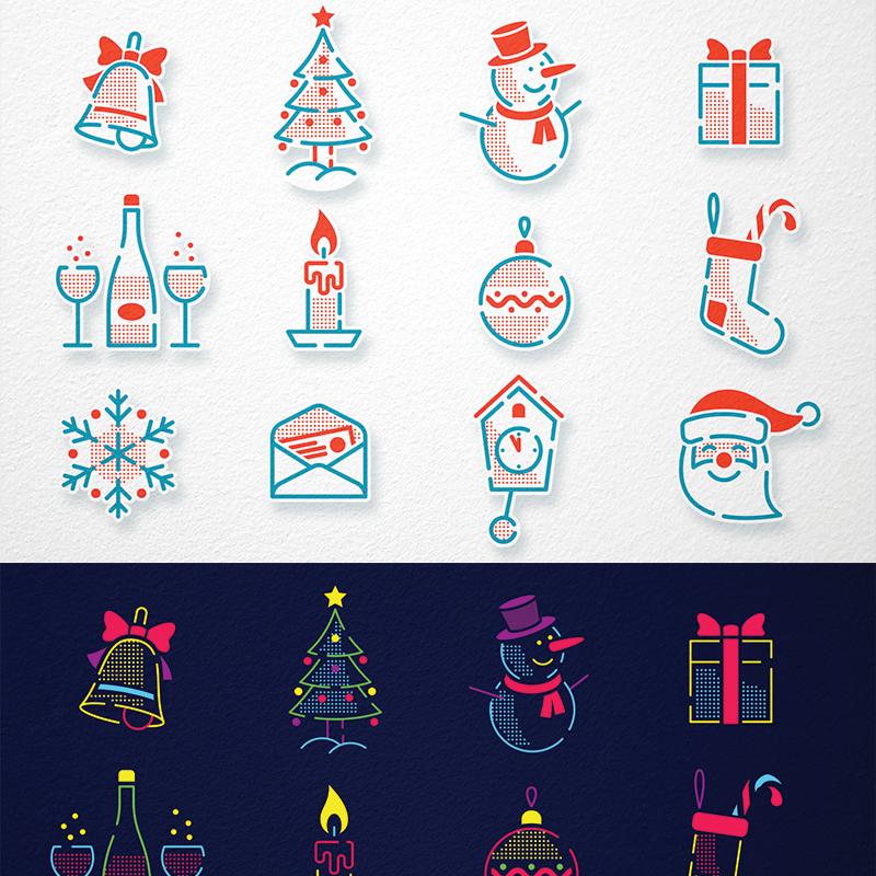 Christmas New Year Icons Set illustration