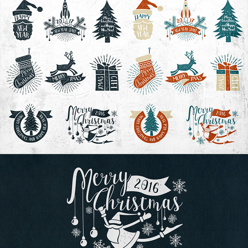 Vintage Christmas Labels illustration