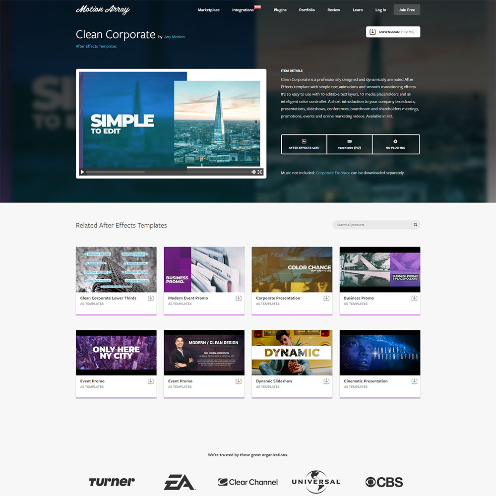 Clean Corporate After Effects Templates